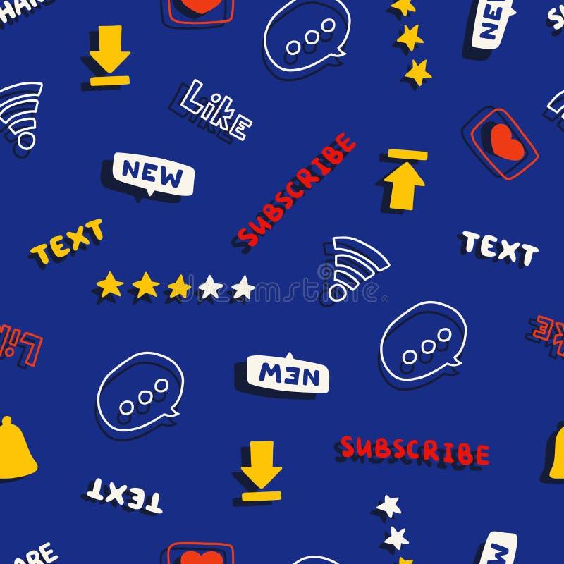 Modèle sans couture avec des médias et des mots et des symboles sociaux de réseau illustration stock