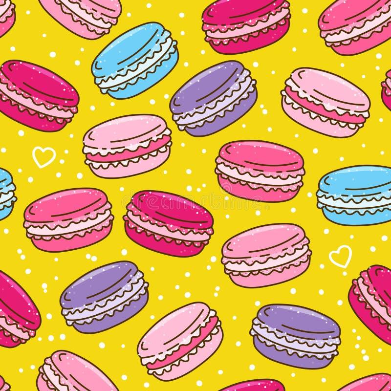 Modèle sans couture avec des macarons de couleur illustration stock