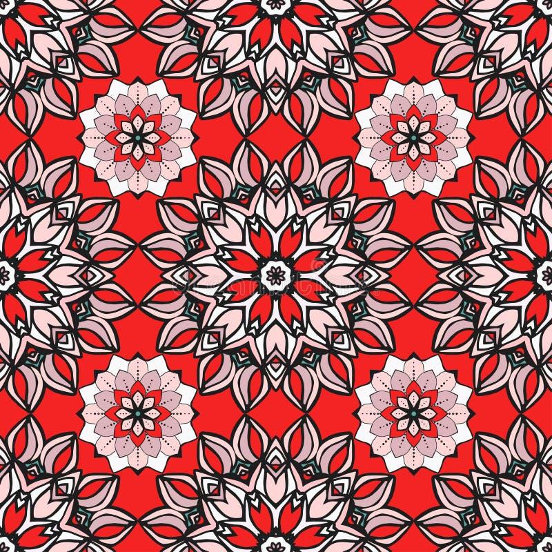 Modèle sans couture avec des mandalas Dirigez les ornements dans des couleurs à la mode pour votre conception illustration libre de droits