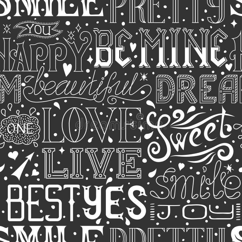 Modèle sans couture avec des mots et des expressions tirés par la main, texte calligraphique Fond de vecteur illustration libre de droits