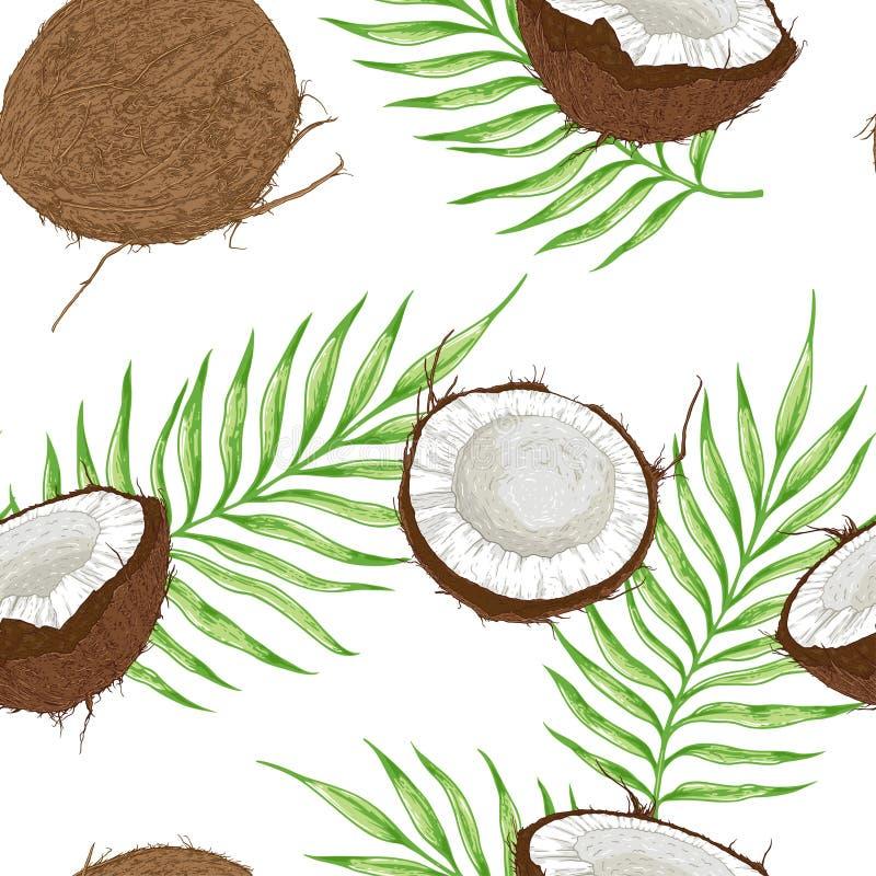 Modèle sans couture avec des noix de coco et des feuilles vertes illustration de vecteur