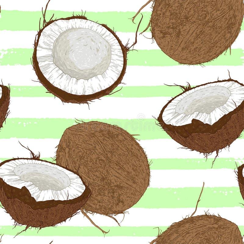 Modèle sans couture avec des noix de coco et des Lignes Vertes illustration libre de droits