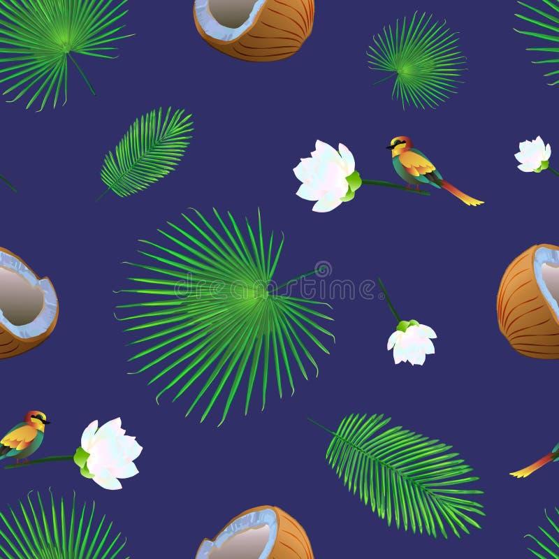 Modèle sans couture avec des noix de coco, feuilles tropicales, fleurs illustration libre de droits