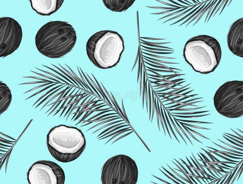 Download Modèle Sans Couture Avec Des Noix De Coco Fond Abstrait Tropical  Dans Le Rétro Style