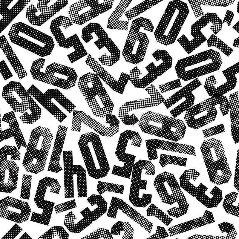 Modèle sans couture avec des nombres texturisé avec des images tramées d'impression illustration libre de droits