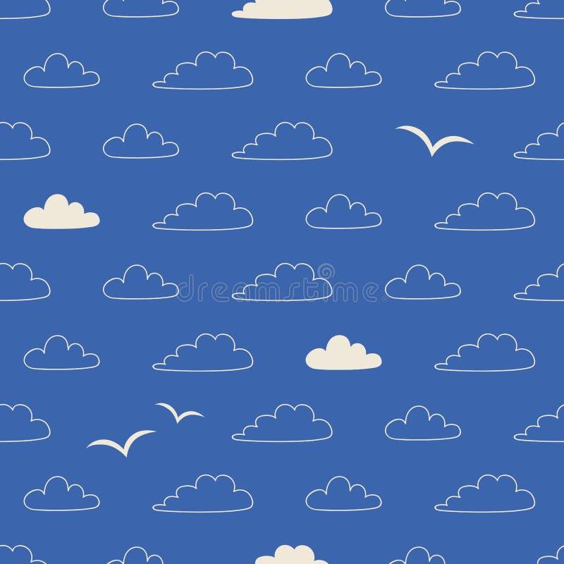 Modèle sans couture avec des nuages et des oiseaux dans le style scandinave illustration libre de droits