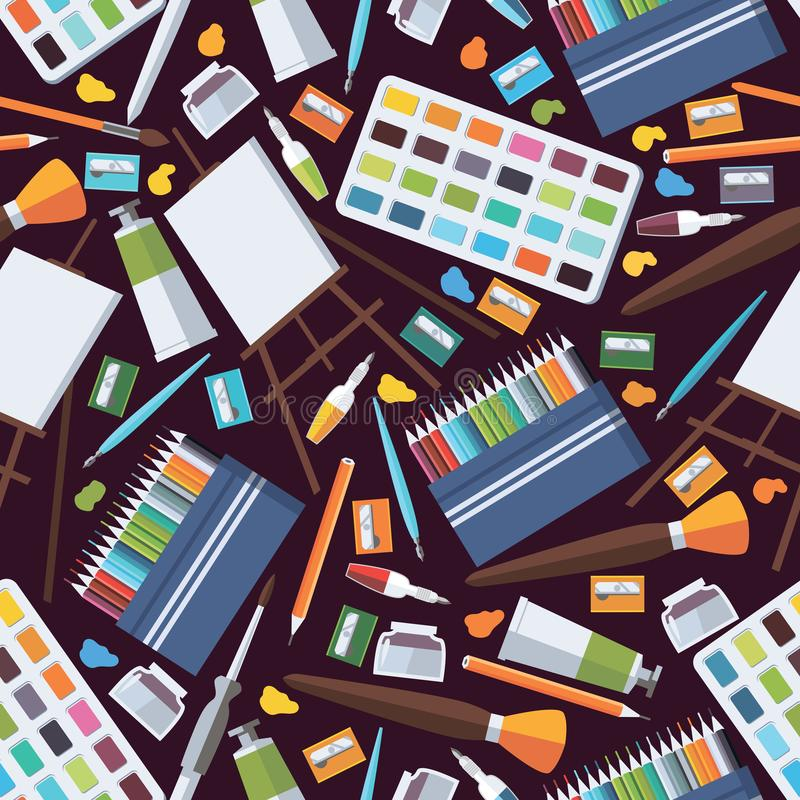 Modèle sans couture avec des objets de beaux-arts Approvisionnements d'artiste comme le chevalet, les crayons colorés, la palette illustration libre de droits