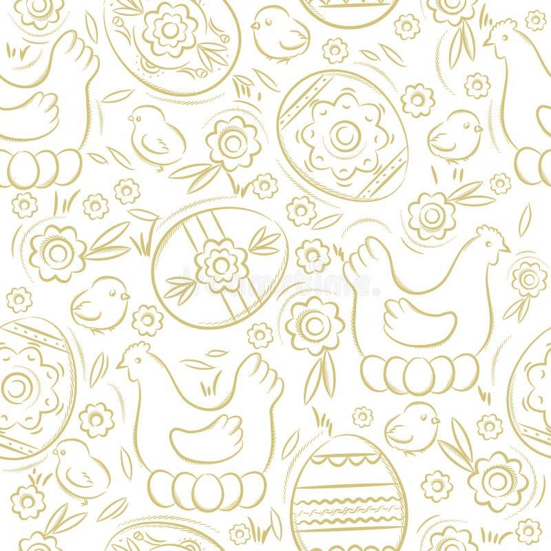 Modèle sans couture avec des OEUFS de PÂQUES, des fleurs, des feuilles, le poussin et la poule Éléments décoratifs tirés par la m illustration libre de droits