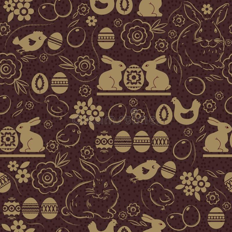Modèle sans couture avec des OEUFS de PÂQUES, des lapins, des fleurs, des feuilles, le poussin et la poule sur le fond brun Les v illustration de vecteur