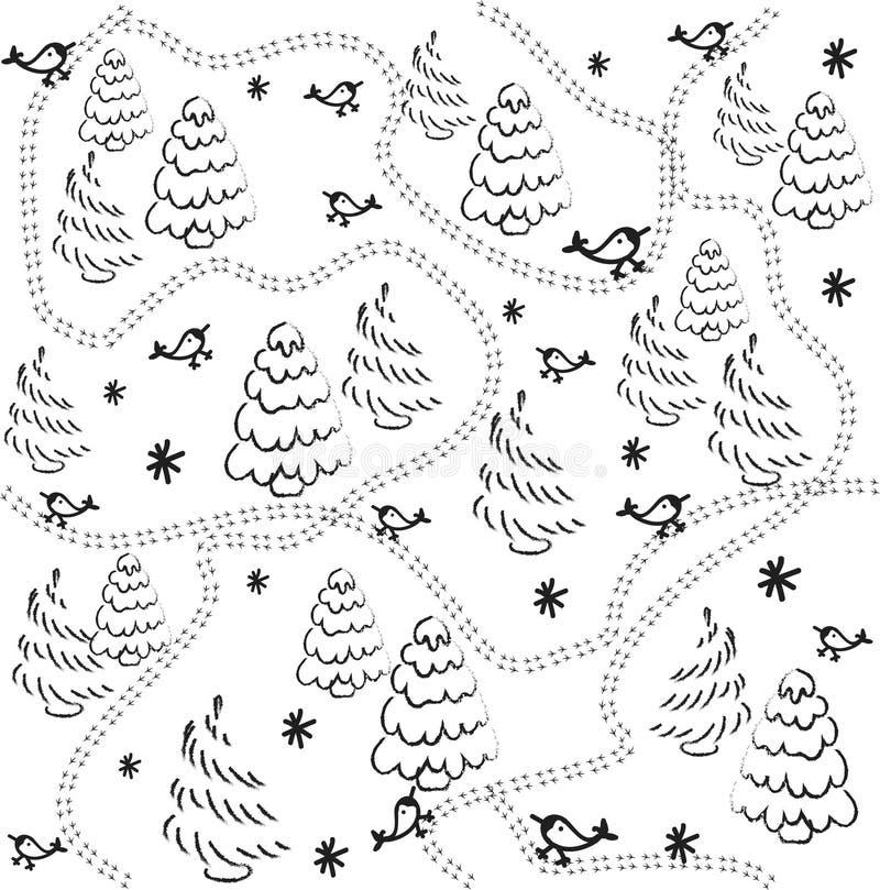 Modèle sans couture avec des oiseaux, des arbres de Noël et la neige Croquis d'aspiration de main Vecteur illustration de vecteur