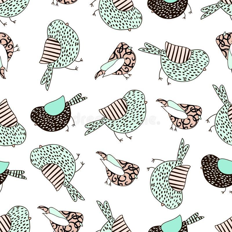 Modèle sans couture avec des oiseaux dans le style scandinave Fond puéril créatif pour le tissu, textile illustration de vecteur
