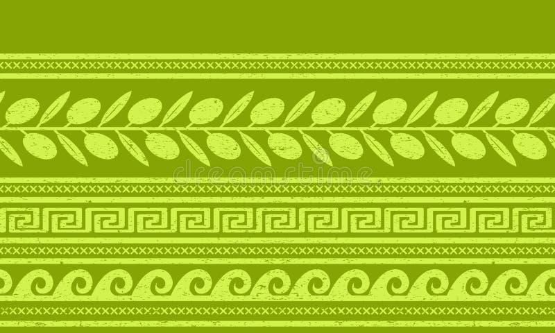 Modèle sans couture avec des olives et des symboles grecs illustration libre de droits