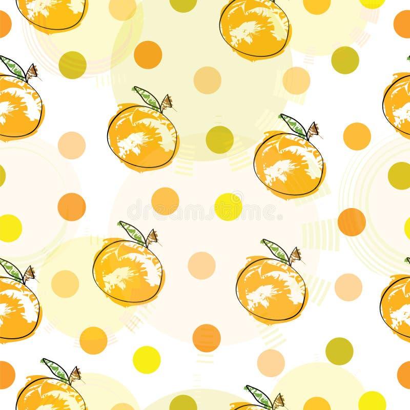 Modèle sans couture avec des oranges et des points de polka illustration stock