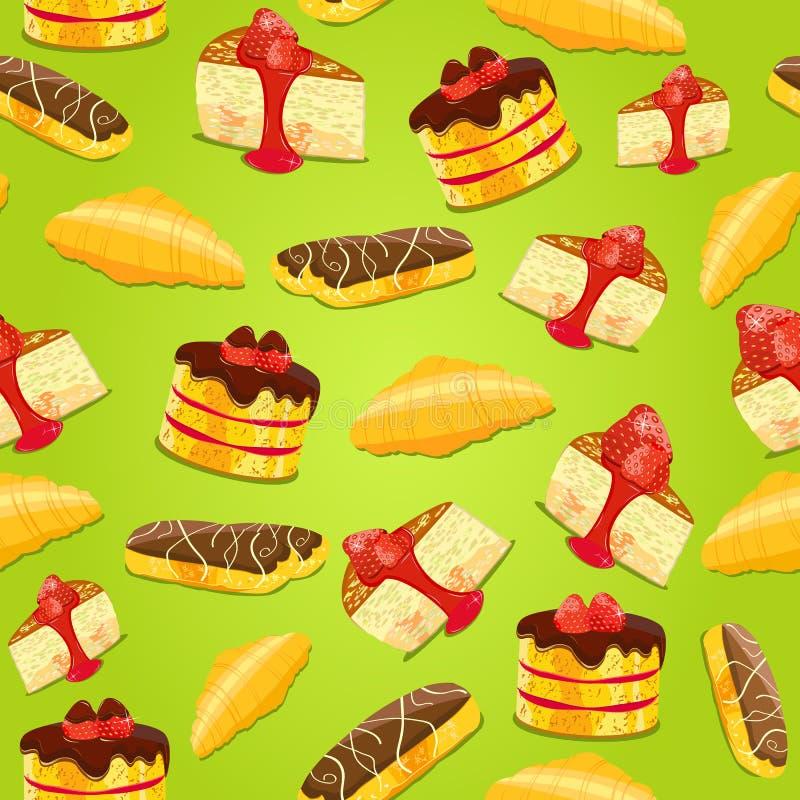 Modèle sans couture avec des pâtisseries illustration stock