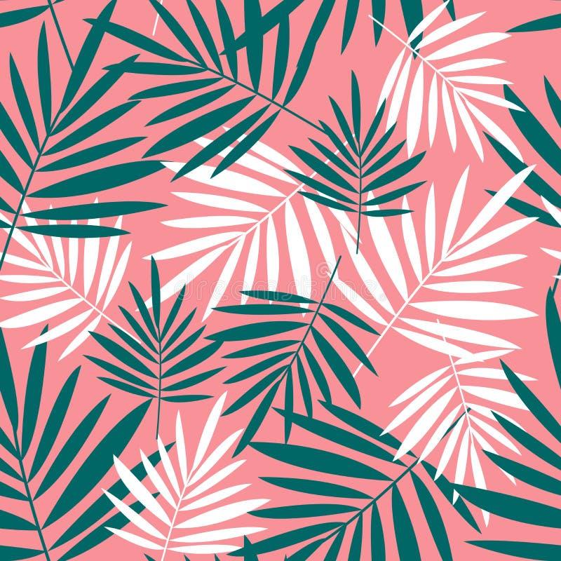 Modèle sans couture avec des palmettes sur un fond rose illustration stock