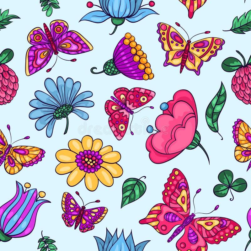 Modèle sans couture avec des papillons et des fleurs bleus illustration stock