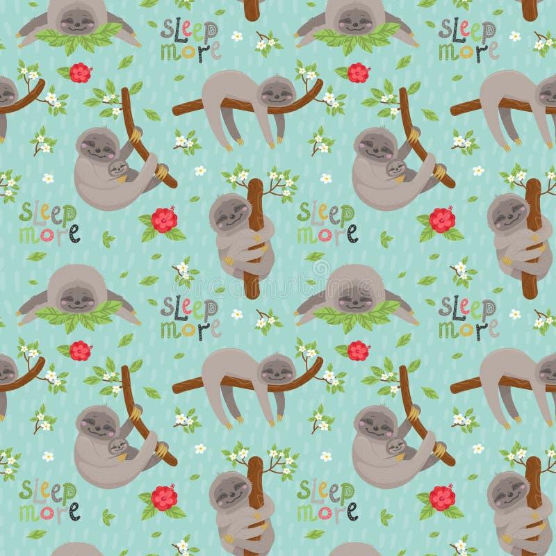 Modèle sans couture avec des paresses mignonnes dormant sur les branches tropicales de lianes illustration libre de droits