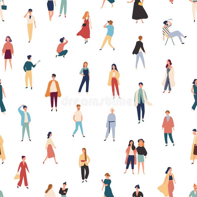 Modèle sans couture avec des personnes dans des équipements à la mode marchant, se tenant, posant pour la photo, parlant Contexte illustration de vecteur