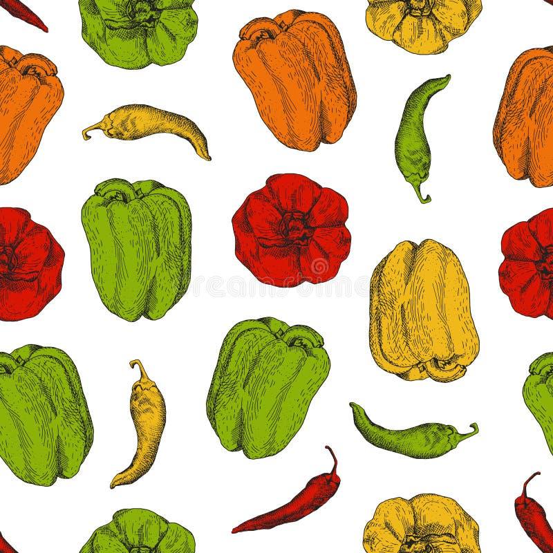Modèle sans couture avec des piments et des poivrons bulgares illustration stock