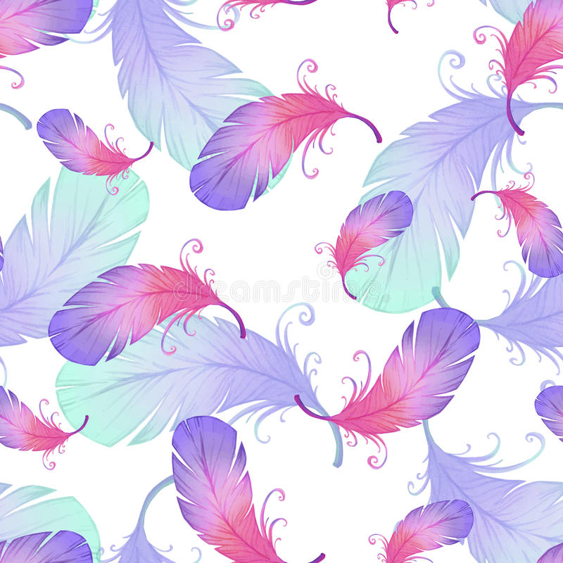 Modèle sans couture avec des plumes d'oiseau illustration stock