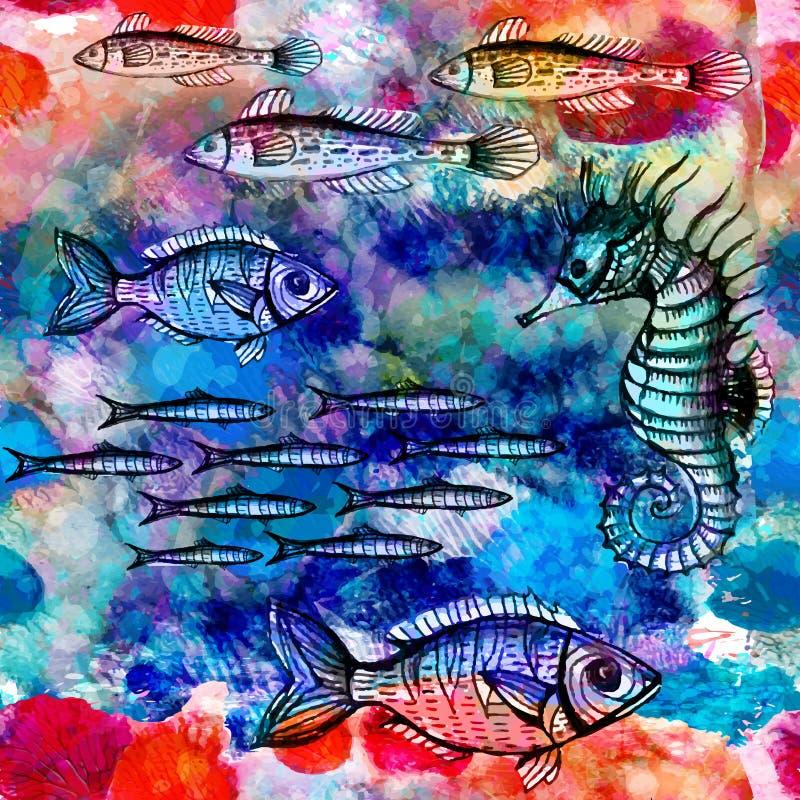Modèle sans couture avec des poissons en mer. Vecteur, ENV 10 illustration de vecteur