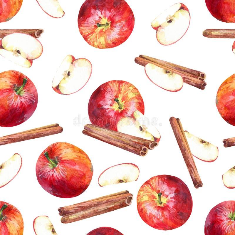 Modèle sans couture avec des pommes, des tranches et des bâtons de cannelle sur le fond blanc illustration libre de droits