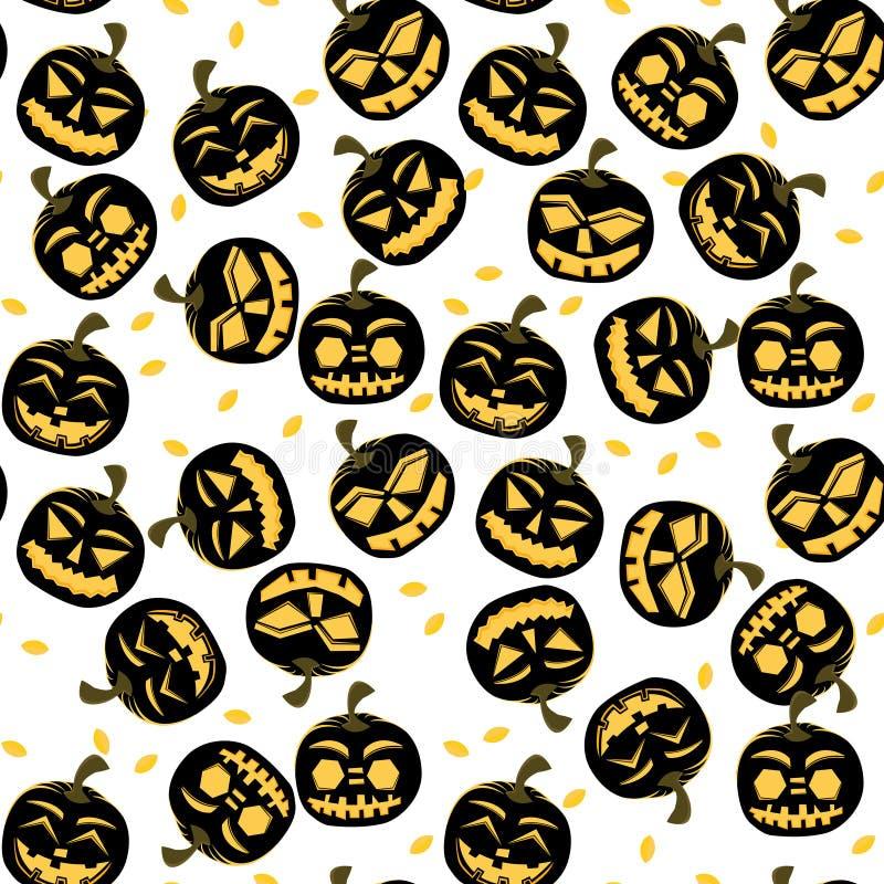 Modèle sans couture avec des potirons de Halloween illustration de vecteur