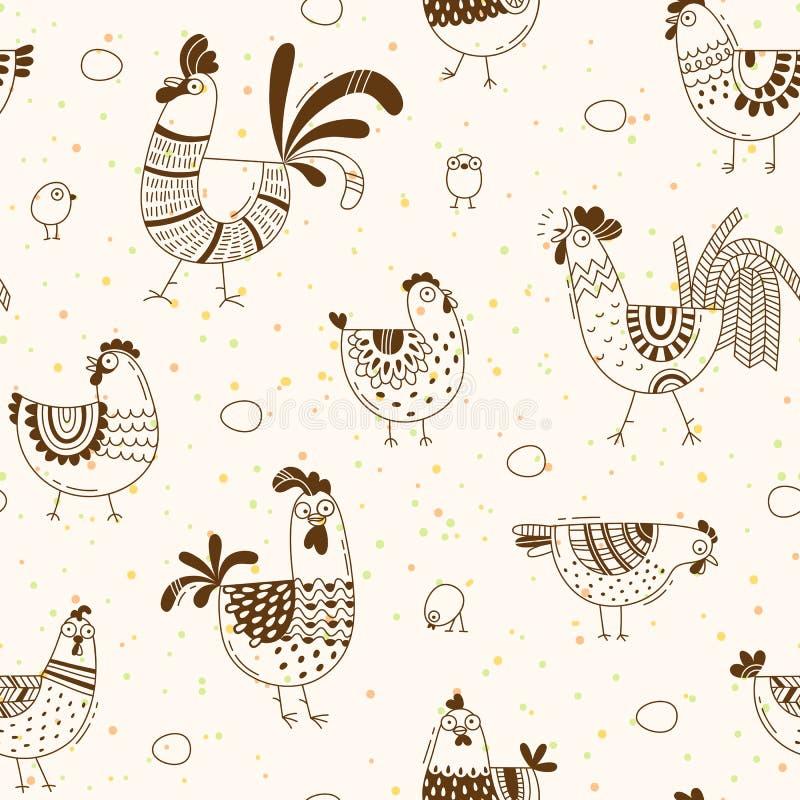 Modèle sans couture avec des poulets, coqs, oeufs dans le style de bande dessinée, schéma Fond pour l'emballage de produit de cou illustration stock