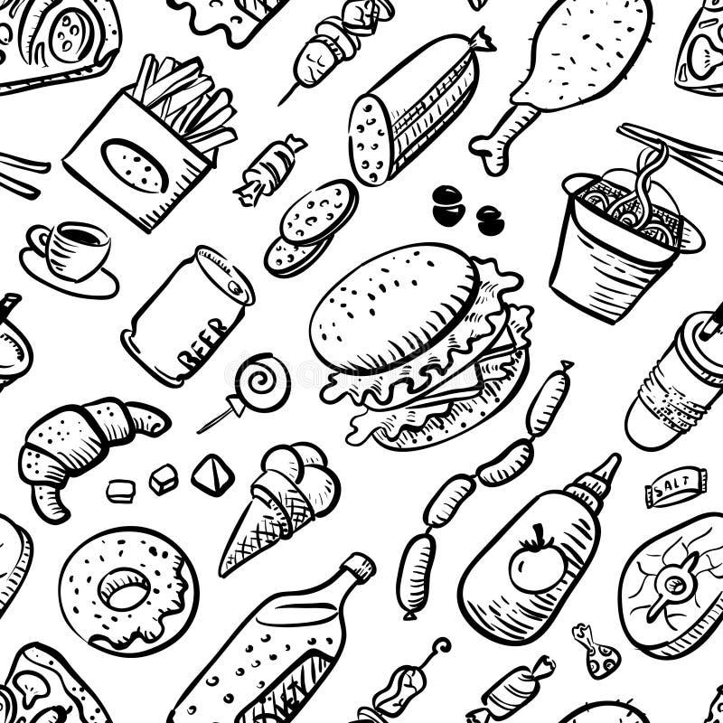 Modèle sans couture avec des produits d'aliments de préparation rapide illustration libre de droits