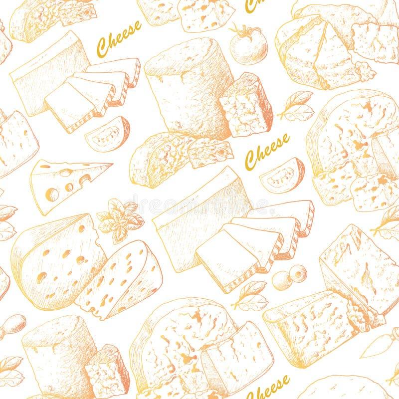 Modèle sans couture avec des produits de fromage illustration de vecteur