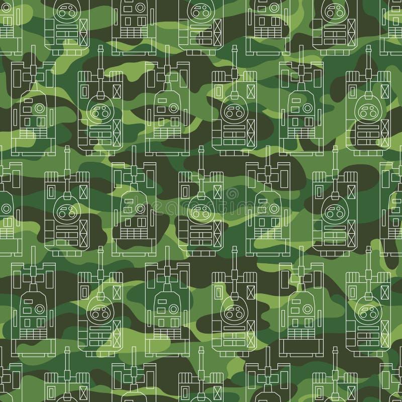 Modèle sans couture avec des réservoirs sur le fond de camouflage illustration de vecteur