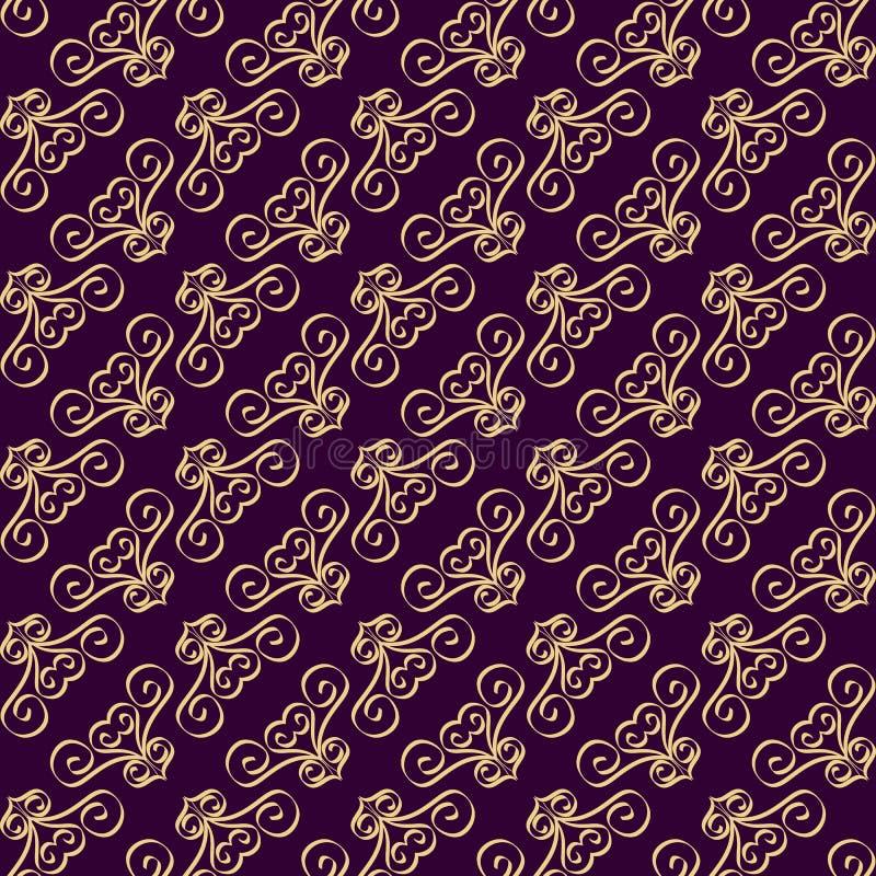 Modèle sans couture avec des remous sur la diagonale Fleuri décoré du pourpre et des ornements d'or illustration de vecteur