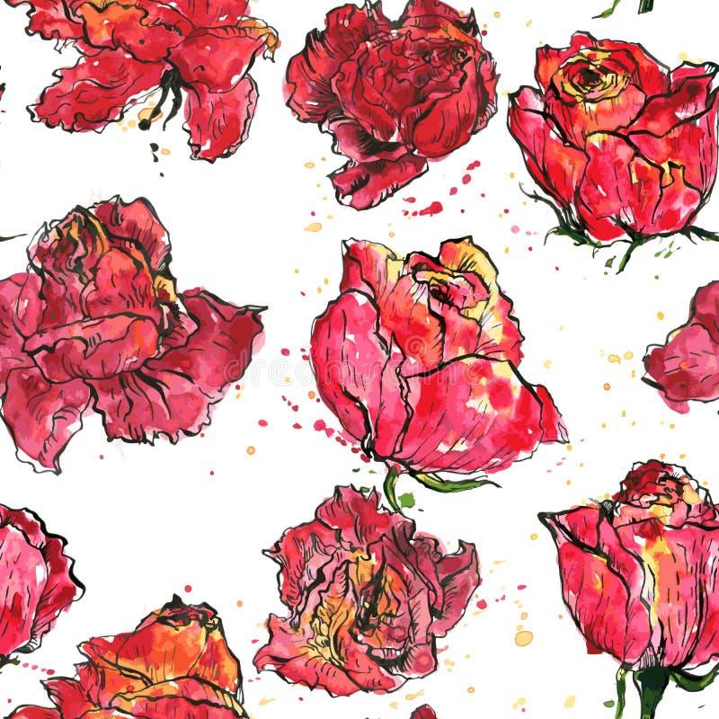 Modèle sans couture avec des roses d'aquarelle illustration libre de droits