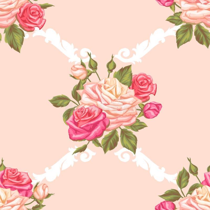 Download Modèle Sans Couture Avec Des Roses De Vintage Rétros Fleurs Décoratives Facile à Utiliser Pour Le Contexte, Textile, Papier D'emb Illustration de Vecteur - Illustration du retrait, fond: 77153674