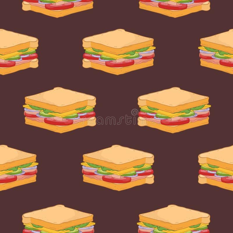 Modèle sans couture avec des sandwichs sur le fond foncé Contexte avec le repas de rapide appétissant ou délicieux tiré par la ma illustration stock
