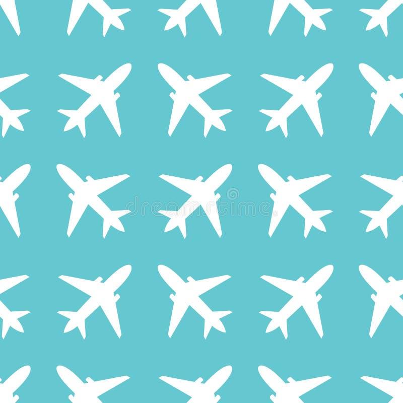 Modèle sans couture avec des silhouettes d'avions illustration libre de droits