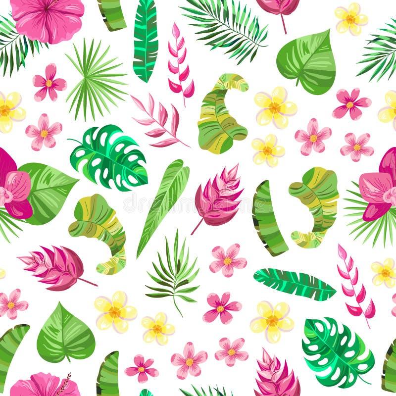 Modèle sans couture avec des slowers tropicaux, feuilles illustration de vecteur