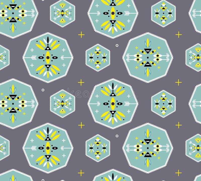 Modèle sans couture avec des symboles géométriques tribals image stock