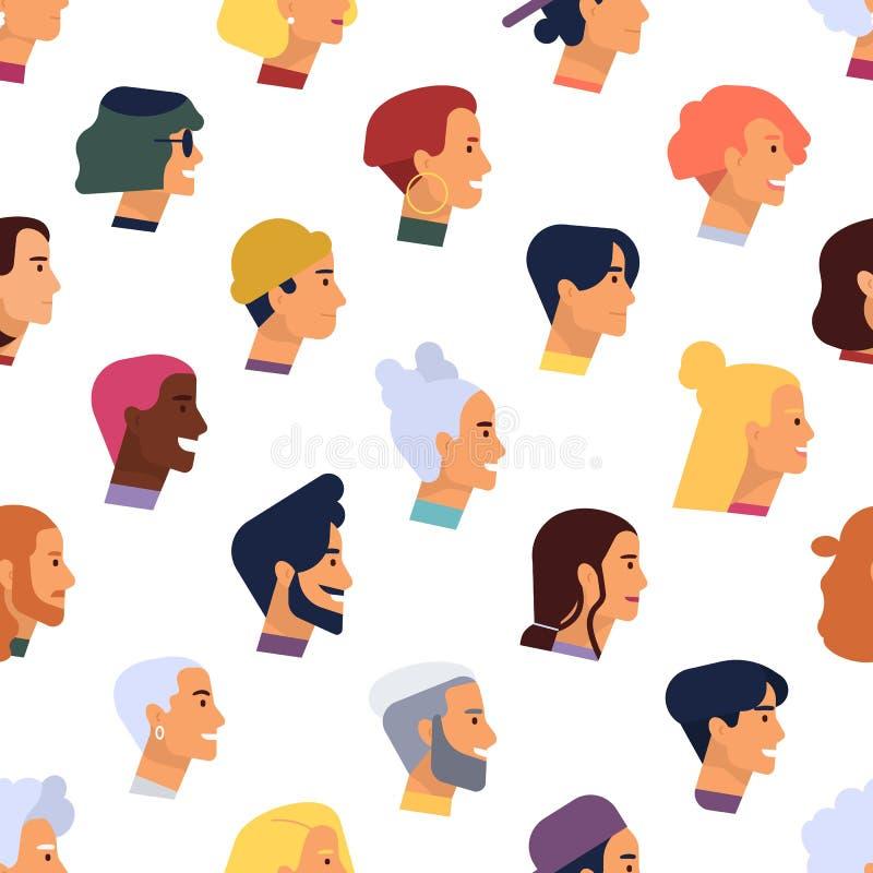 Modèle sans couture avec des têtes de jeunes et pluss âgé hommes et femmes élégants avec de diverses coiffures Contexte avec les  illustration de vecteur