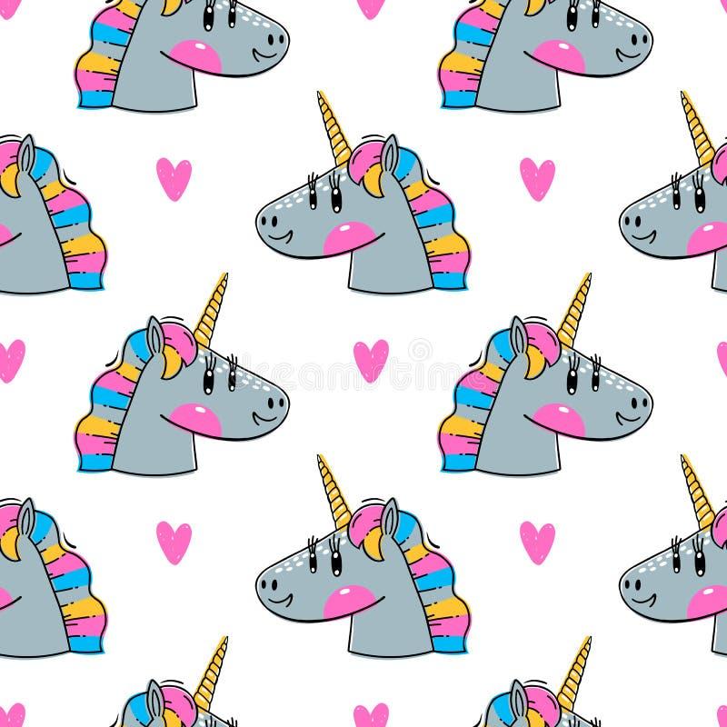 Mod?le sans couture avec des t?tes de licorne d'arc-en-ciel Animaux de kawaii de mode Illustration de vecteur illustration de vecteur