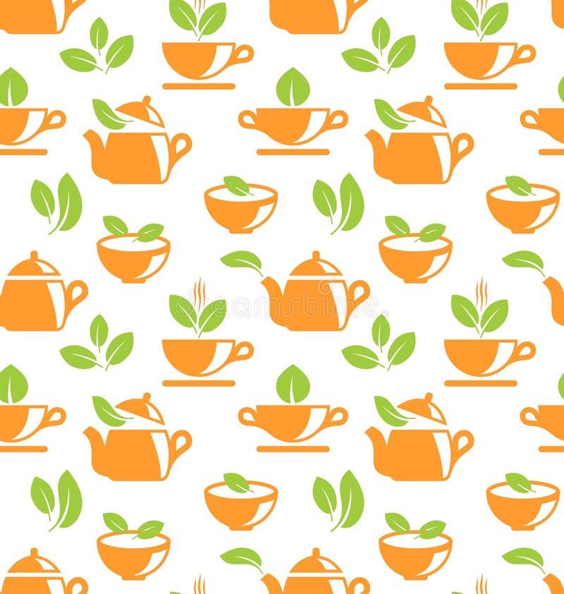 Modèle sans couture avec des théières et des tasses de thé illustration stock
