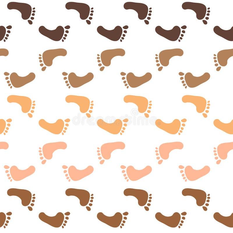 Modèle sans couture avec des traces des tailles d'enfant Traces des nations d'enfant du monde Texture peinte à la main abstraite  illustration libre de droits
