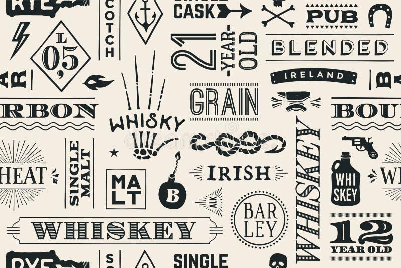 Modèle sans couture avec des types de whiskey illustration libre de droits