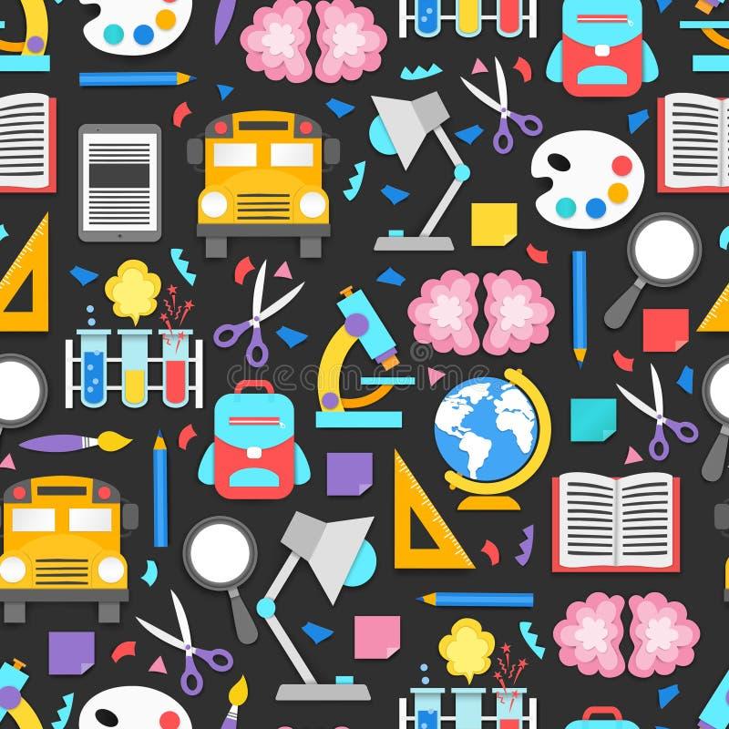 Modèle sans couture avec différentes fournitures scolaires sur le fond noir de tableau Éléments de décoration pour de nouveau à l illustration stock