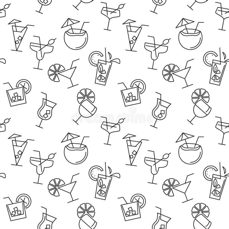 Modèle sans couture avec différentes icônes de boissons illustration libre de droits