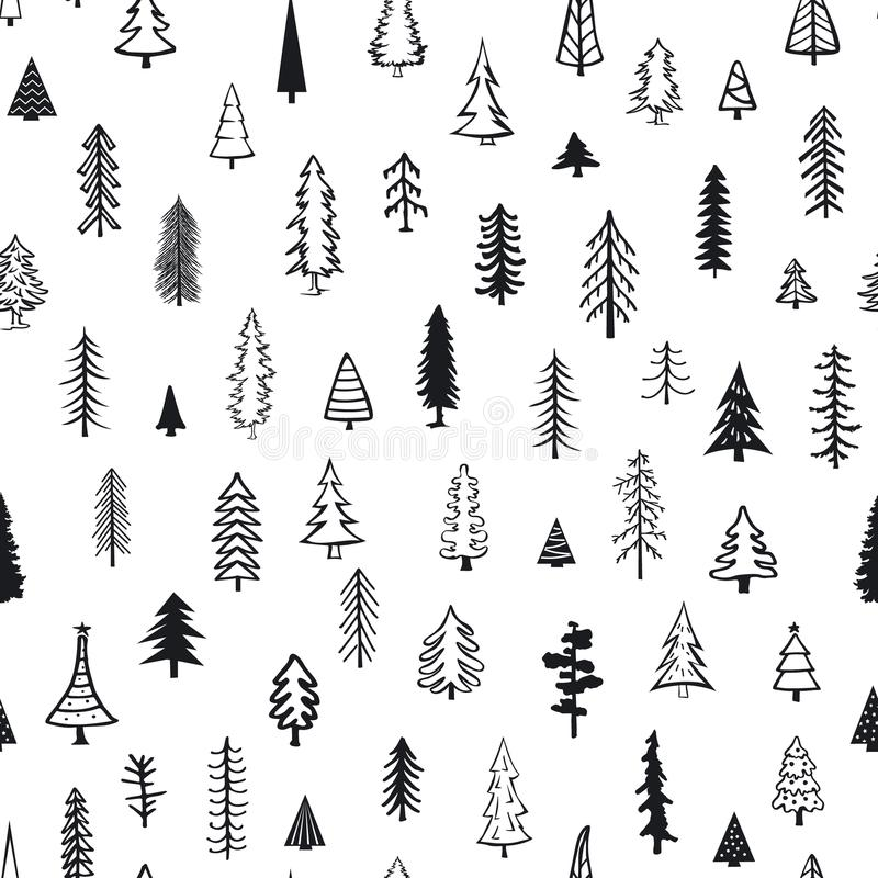 Modèle sans couture avec différents arbres de Noël de griffonnage de sapin de pin de conifère illustration de vecteur
