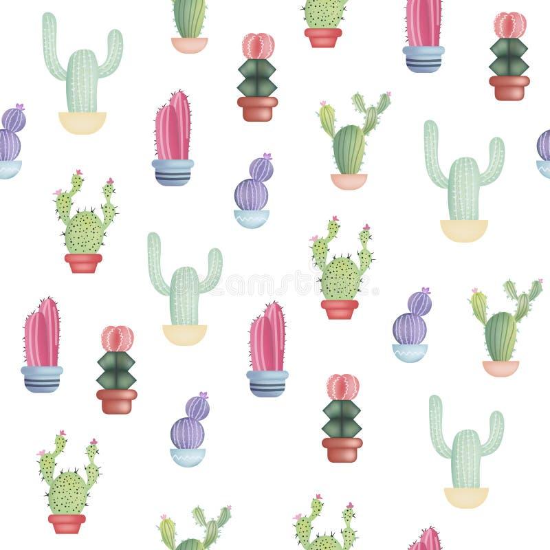 Modèle sans couture avec différents cactus réalistes colorés dans le pot Illustration de vecteur d'isolement sur le fond blanc illustration de vecteur