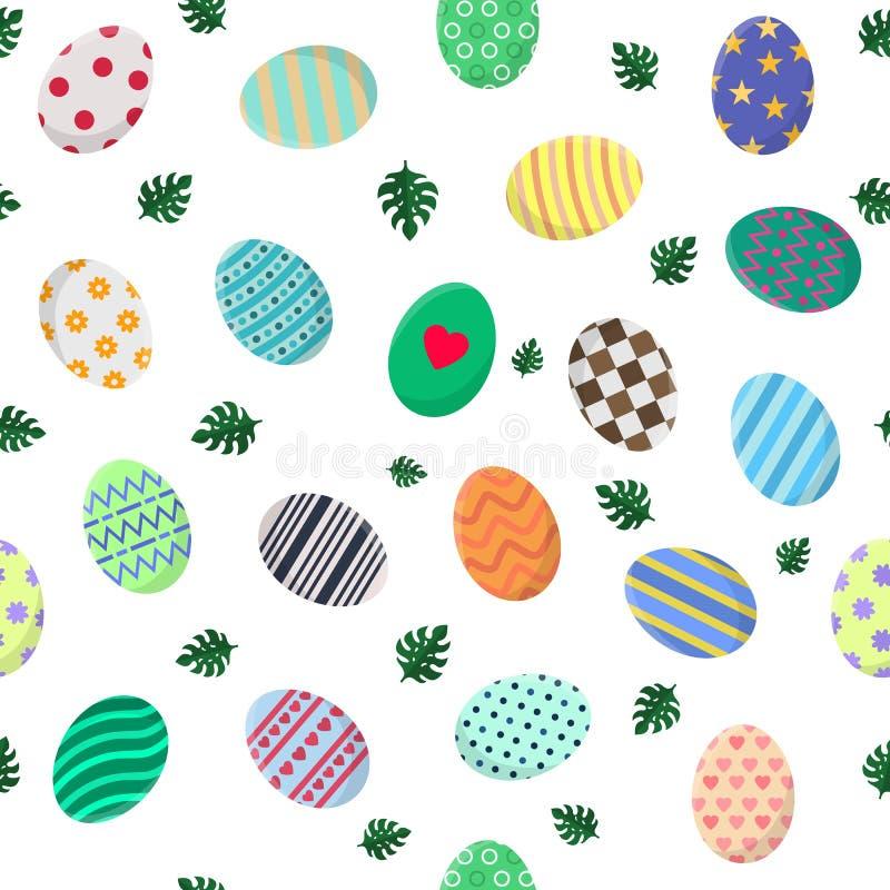 Modèle sans couture avec différents oeufs de pâques et feuilles vertes de Monstera Perfectionnez pour le papier d'emballage, papi illustration libre de droits