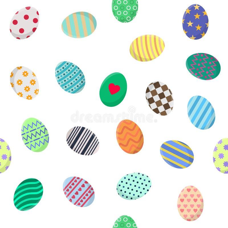 Modèle sans couture avec différents oeufs de pâques sur le blanc Perfectionnez pour le papier d'emballage, papier peint, tissu Il illustration de vecteur