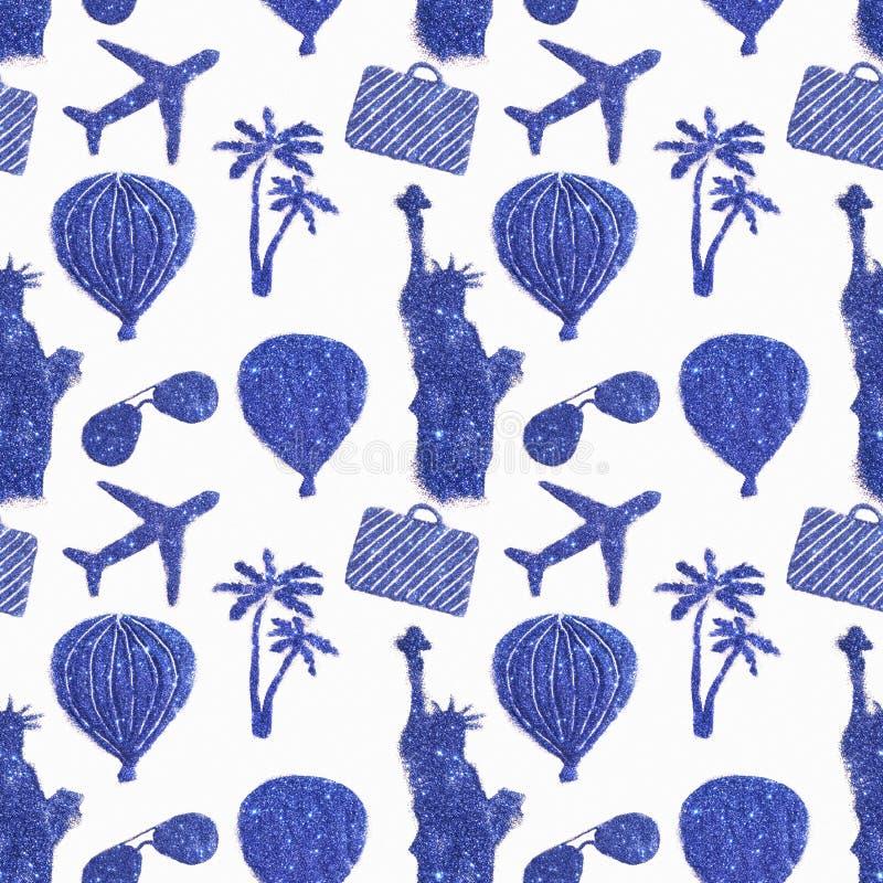 Modèle sans couture avec différents symboles de voyage de scintillement bleu Statue de la liberté, ballons à air, avions photos libres de droits